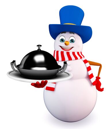 snowman 3d: 3d rendered illustration of snowman with pan