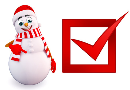 snowman 3d: 3d rendered illustration of snowman with right sign