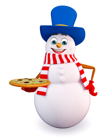 snowman 3d: 3d rendered illustration of snowman with pizza Stock Photo