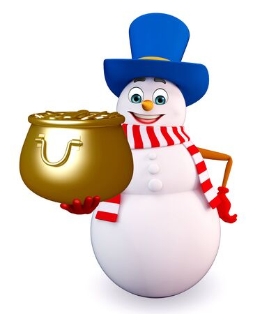 three wishes: 3d rendered illustration of snowman with pot