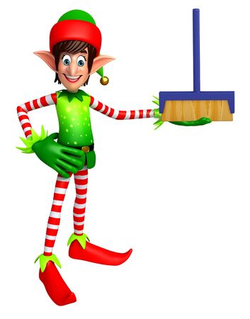 mob: 3d rendered illustration of elves with cleaning mob