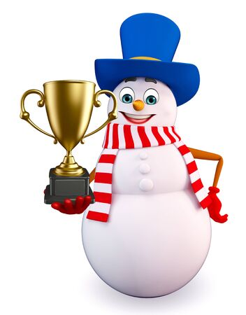 snowman 3d: 3d rendered illustration of snowman with trophy Stock Photo