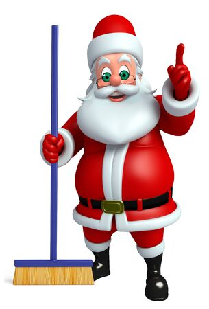 3d rendered illustration of santa claus with cleaning mob