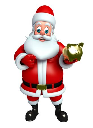 3d rendered illustration of santa claus with piggy bank