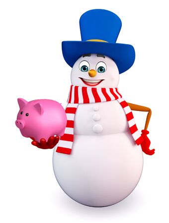 snowman 3d: 3d rendered illustration of snowman with piggy bank Stock Photo