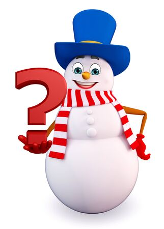 three wishes: 3d rendered illustration of snowman with question mark Stock Photo