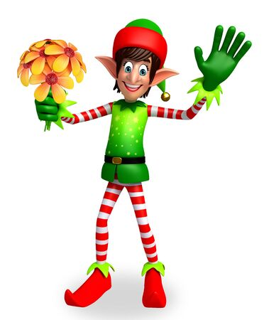three wishes: 3d rendered illustration of elves with flowers