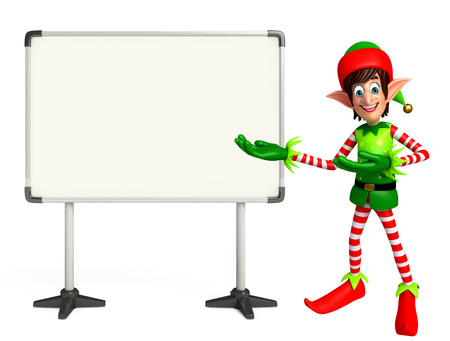 display board: 3d rendered illustration of elves with display board