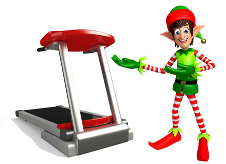 three wishes: 3d rendered illustration of elves with exercising machine