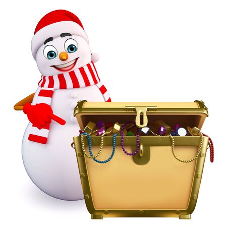 three wishes: 3d rendered illustration of snowman with treasure box