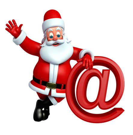 three wishes: 3d rendered illustration of santa claus with at the rate sign Stock Photo