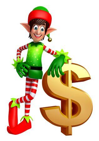 duendes de navidad: 3d rindió la ilustración de elfos con signo de dólar
