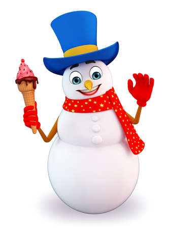 snowman 3d: 3d rendered illustration of snowman with icecream