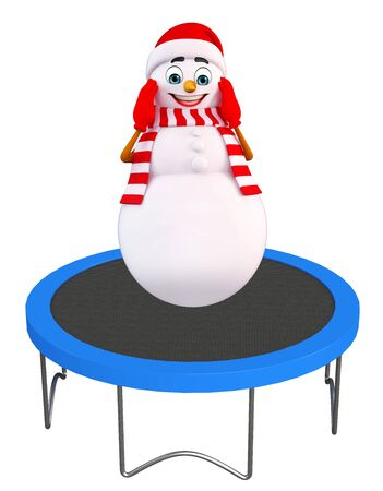 three wishes: 3d rendered illustration of snowman with trampoline jumping bed