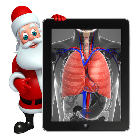 wishlist: 3d rendered illustration of santa claus with anatomical xray