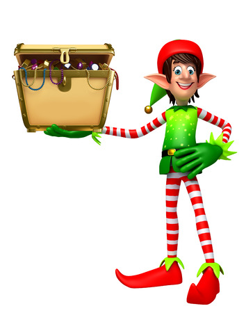 elves: 3d rendered illustration of elves with treasury box