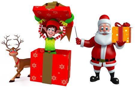 three wishes: 3d rendered illustration of santa claus and elves with reindeer