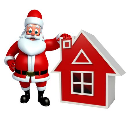 3d rendered illustration of santa Claus with house Stock Photo