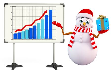 three wishes: 3d rendered illustration of snowman with display board Stock Photo