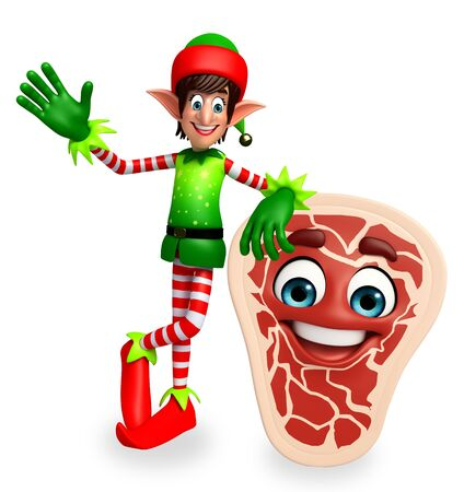 three wishes: 3d rendered illustration of elves with meat steak