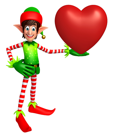 three wishes: 3d rendered illustration of elves with heart shape Stock Photo