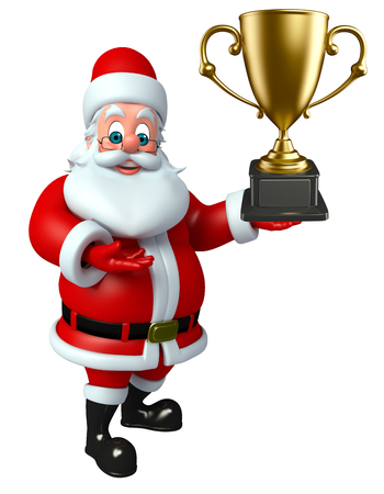 three wishes: 3d rendered illustration of santa claus with trophy
