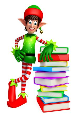 elves: 3d rendered illustration of elves with books pile Stock Photo