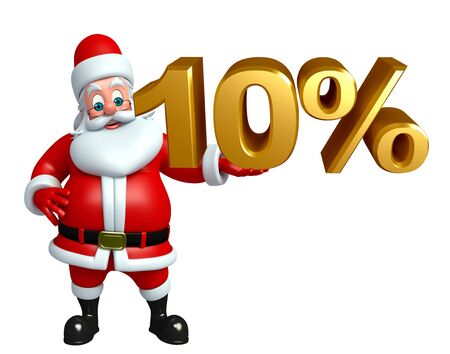 three wishes: 3d rendered illustration of santa claus with percent sign