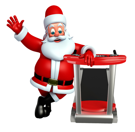 three wishes: 3d rendered illustration of santa claus with exrecising machine