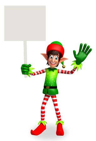 elves: 3d rendered illustration of elves with sign Stock Photo