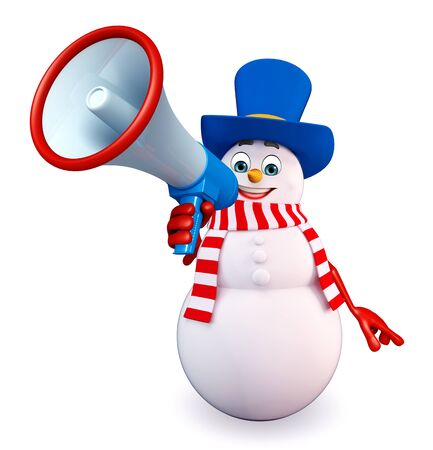 three wishes: 3d rendered illustration of snowman with loudspeaker