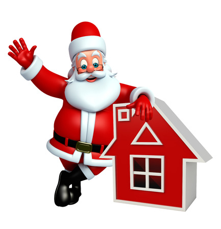 wishlist: 3d rendered illustration of santa claus with house