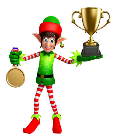 three wishes: 3d rendered illustration of elves with trophy
