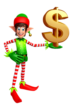 christmas three: 3d rendered illustration of elves with dollar