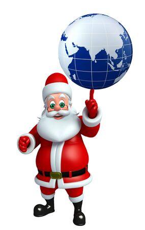 wishlist: 3d rendered illustration of santa claus with globe
