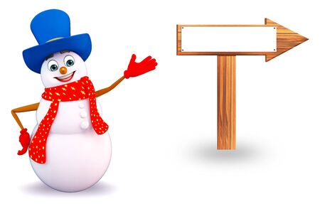 three wishes: 3d rendered illustration of snowman with arrow sign