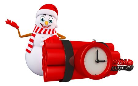 timebomb: 3d rendered illustration of snowman with timebomb
