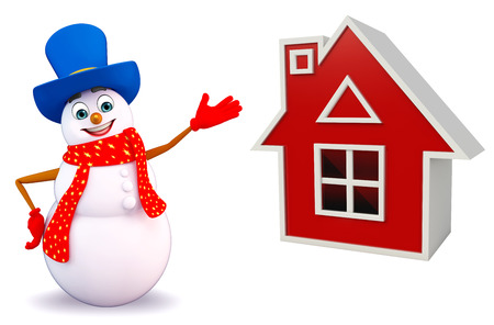 three wishes: 3d rendered illustration of snowman with house