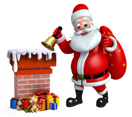 three wishes: 3d rendered illustration of santa claus with chimney