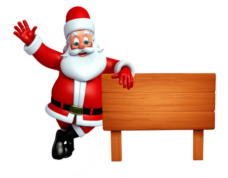 3d rendered illustration of santa claus with wooden sign