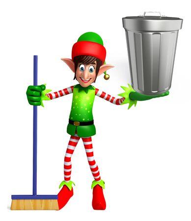 elves: 3d rendered illustration of elves with dustbin Stock Photo