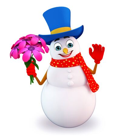 snowman 3d: 3d rendered illustration of snowman with flowers