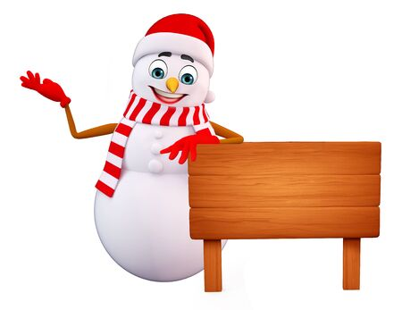 snowman 3d: 3d rendered illustration of snowman with wooden sign Stock Photo