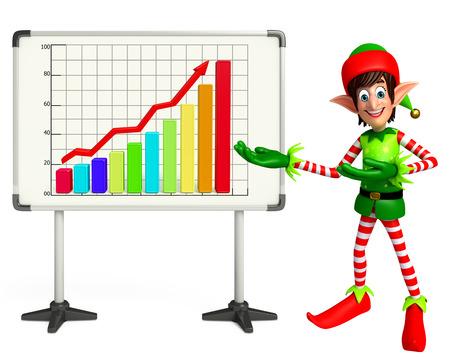 elves: 3d rendered illustration of elves with business graph