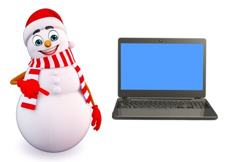 snowman 3d: 3d rendered illustration of snowman with laptop