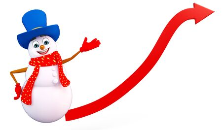 three wishes: 3d rendered illustration of snowman with arrow