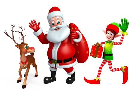 toy sack: 3d rendered illustration of santa claus with reindeer