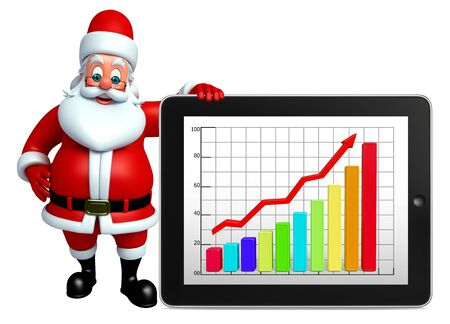wishlist: 3d rendered illustration of santa claus with business graph Stock Photo
