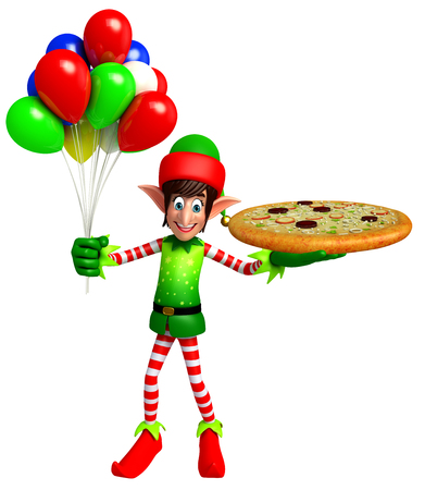 three wishes: 3d rendered illustration of elves with pizza