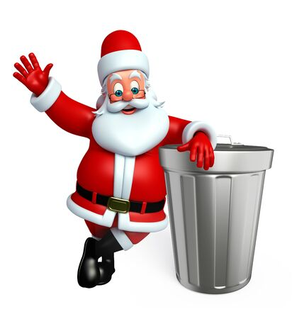 3d rendered illustration of santa claus with dust bin Stock Photo